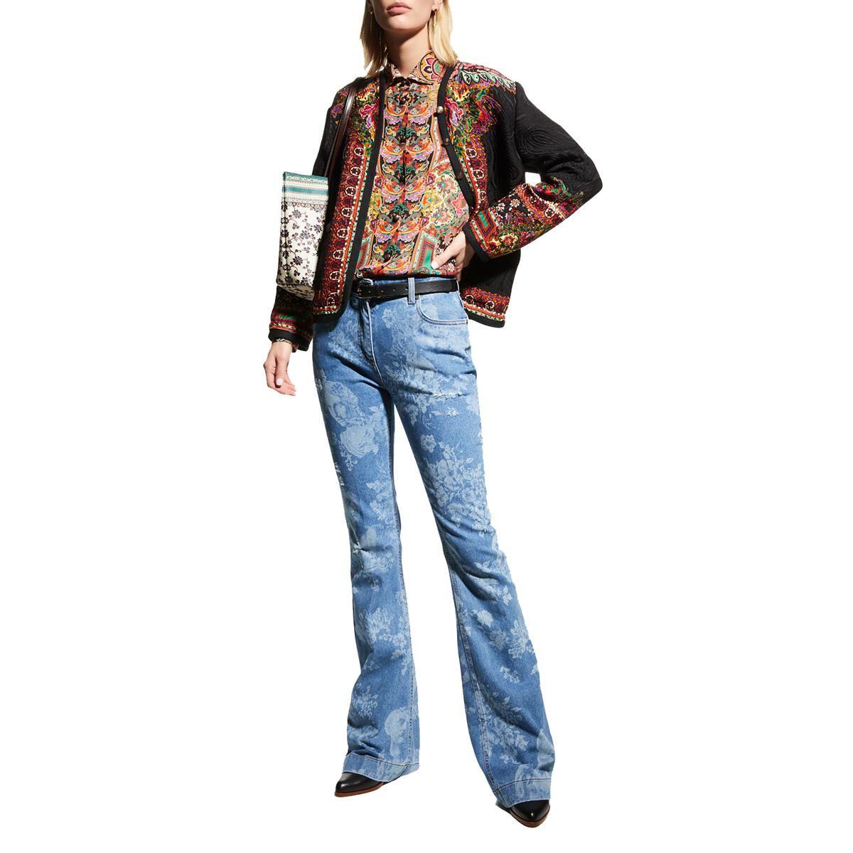 etro floral face burnout printed bootcut leg jeans