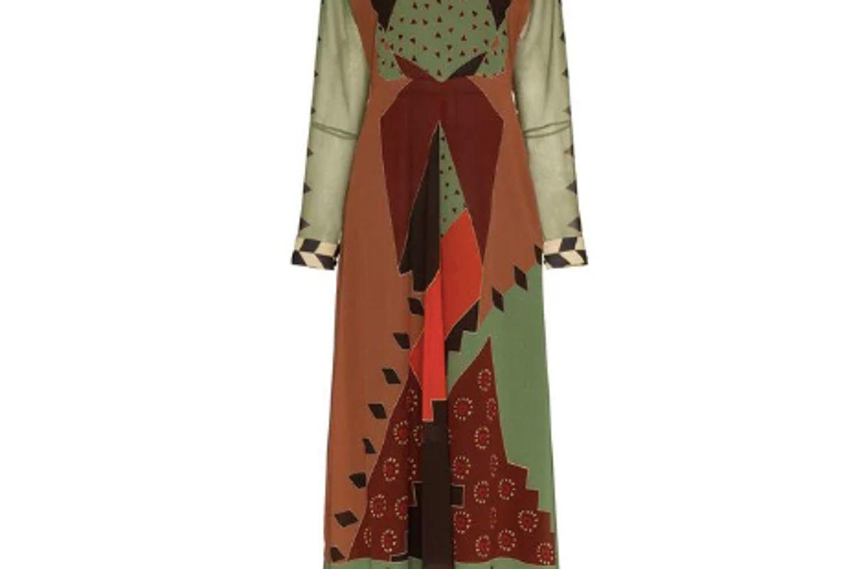 etro printed flared silk dress