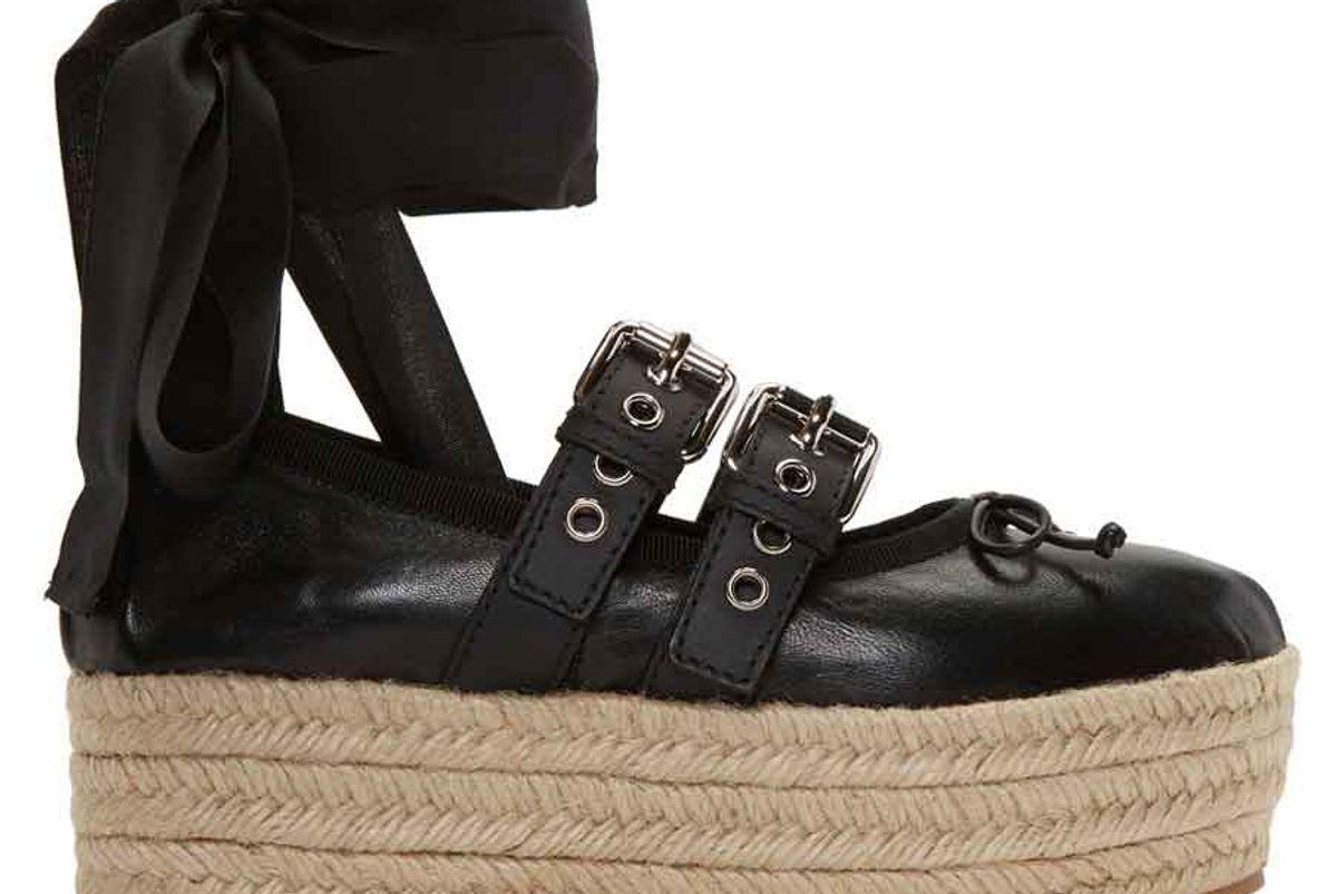 Black Double Buckle Ballerina Platform Espadrilles