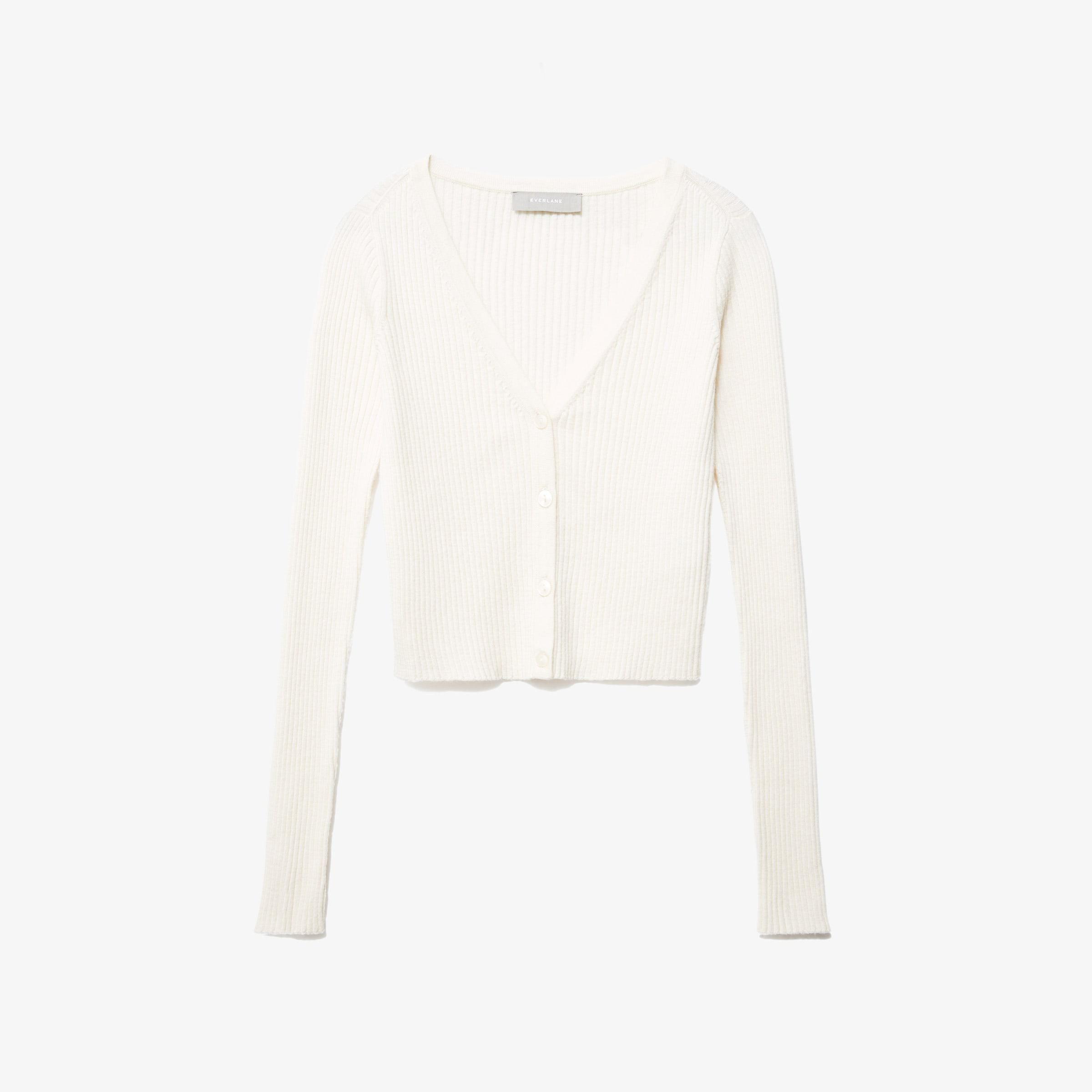 everlane the cotton merino cropped cardigan