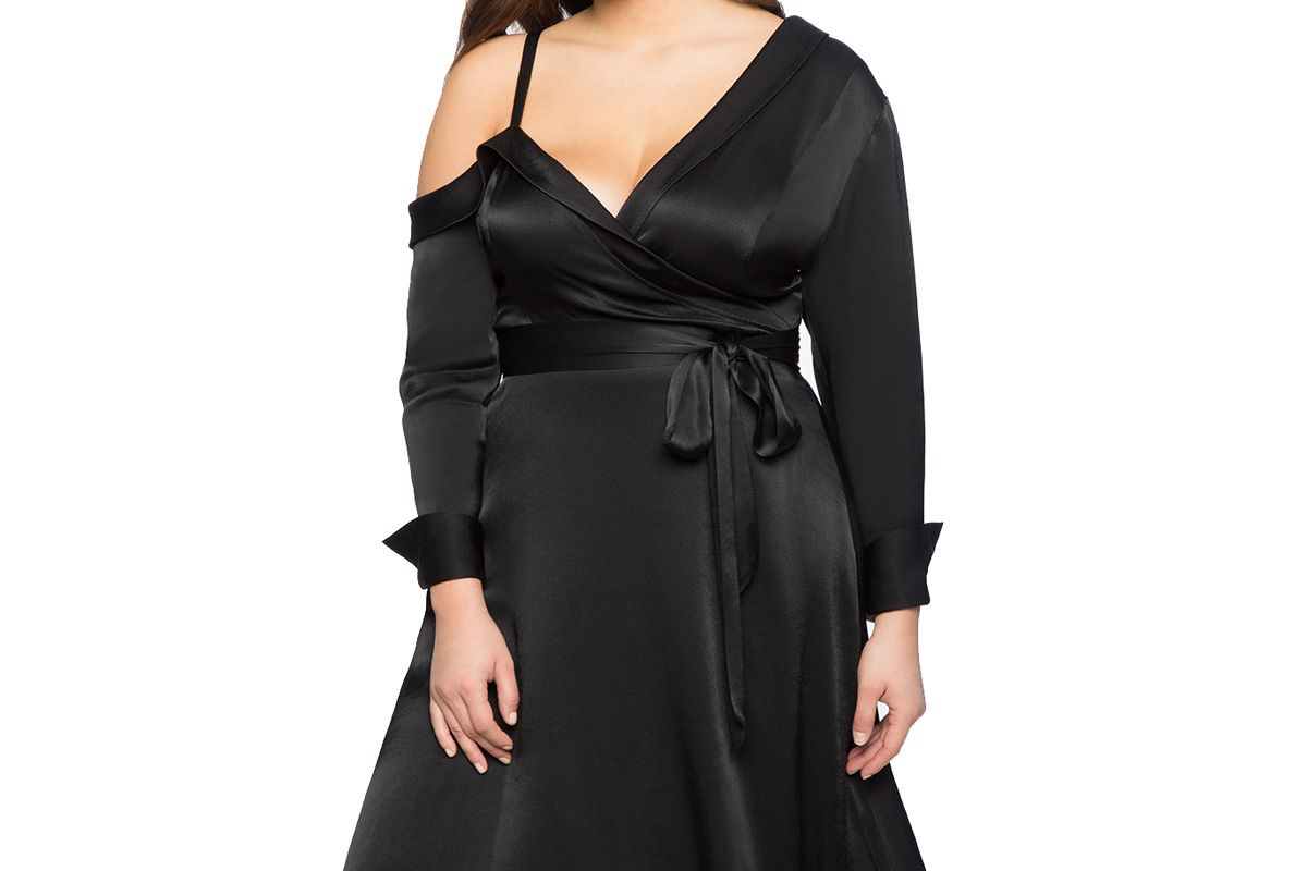 Asymmetrical Neckline Fit and Flare Dress