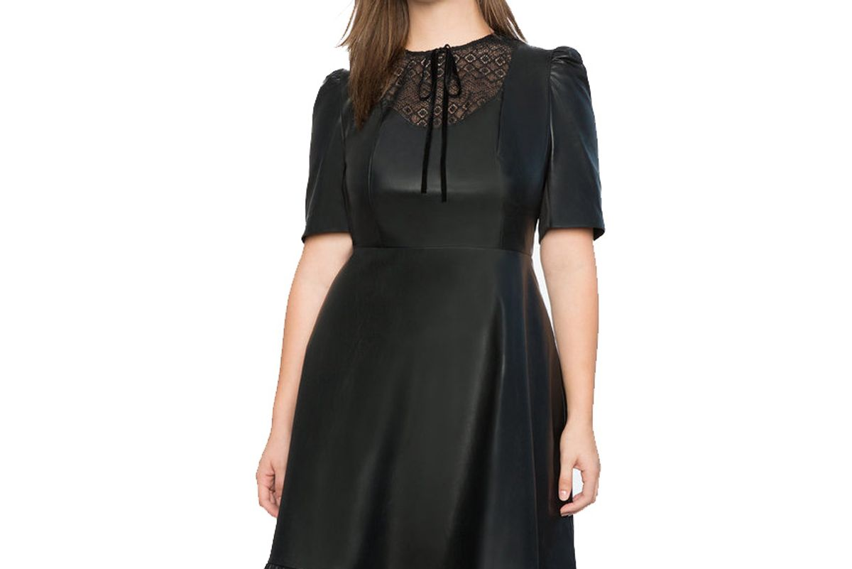 Faux Leather Dress with Lasercut Bib Front