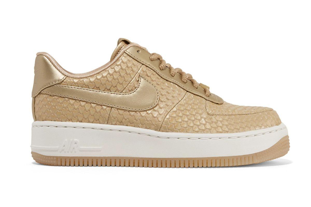 nike nikelab air force 1 metallic snake-effect leather sneakers