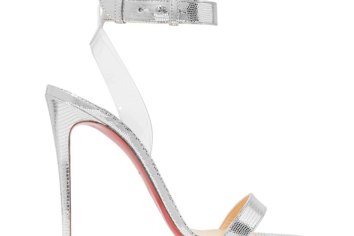 christian louboutin jonatina 100 pvc-trimmed metallic lizard-effect leather sandals