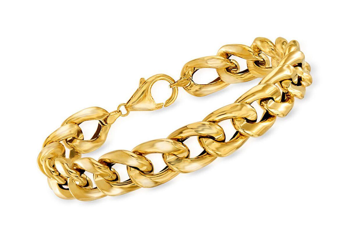ross simmons italian 14kt yellow gold cuban link bracelet