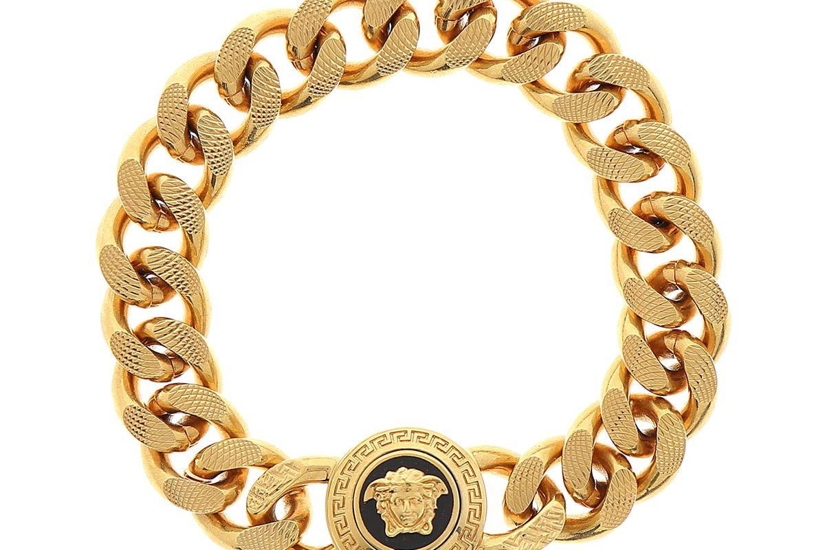 versace mens tribute medusa head textured link bracelet