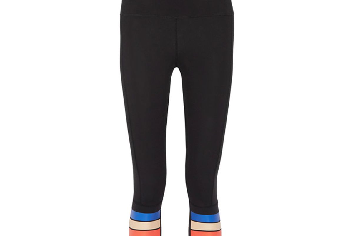 The Scoop Cropped Striped Stretch-Jersey Leggings