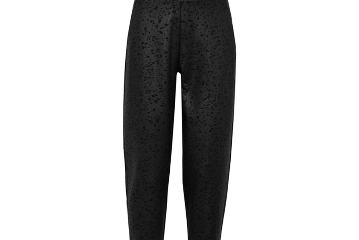 Cropped Embossed Stretch-Neoprene Track Pants