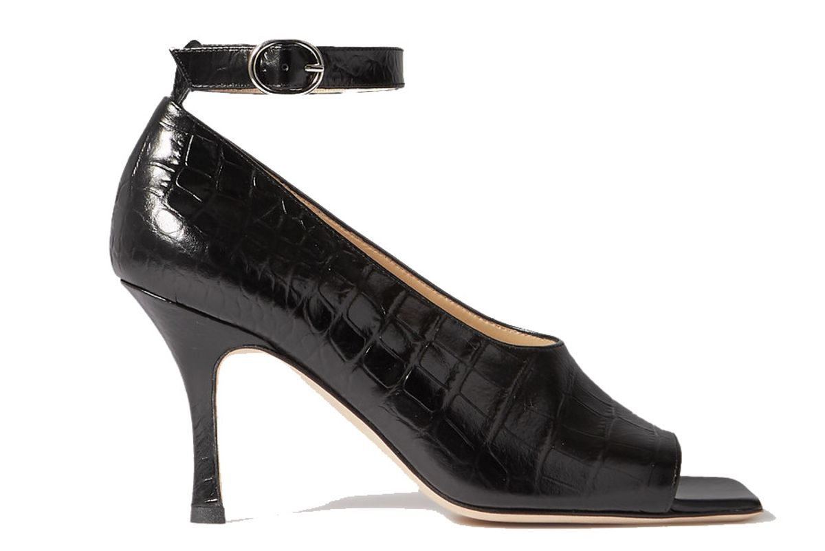 awake mode erica glossed croc effect leather pumps