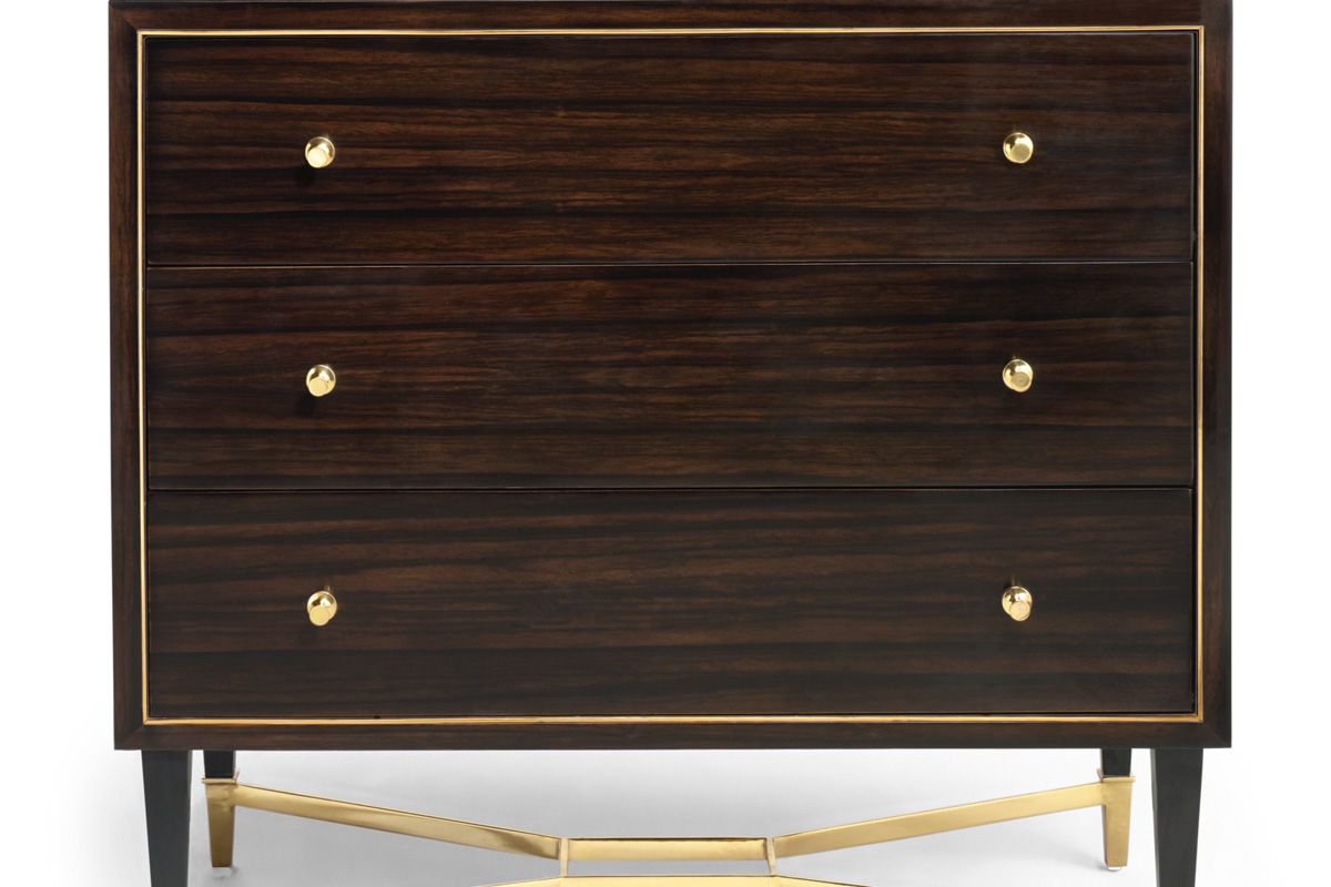 Brown Dresser with Gold Accent