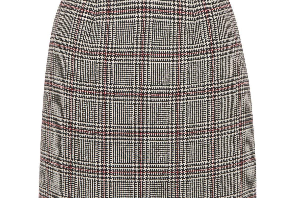 Checked Wool-Blend Mini Skirt