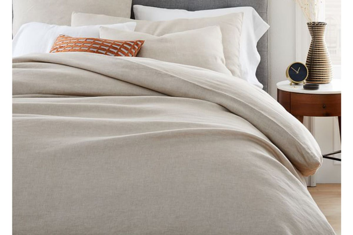 west elm hemp and cotton solid duvet cover and sham desert flax