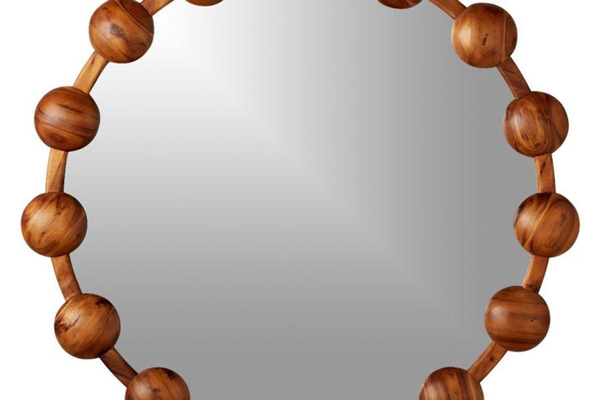 cb2 pinto acacia round mirror