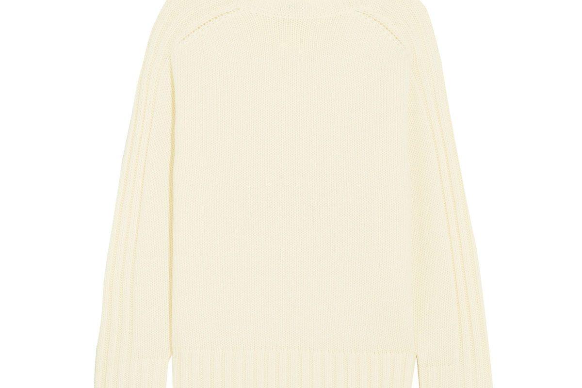 Ribbed Merino Wool Turtleneck Sweater