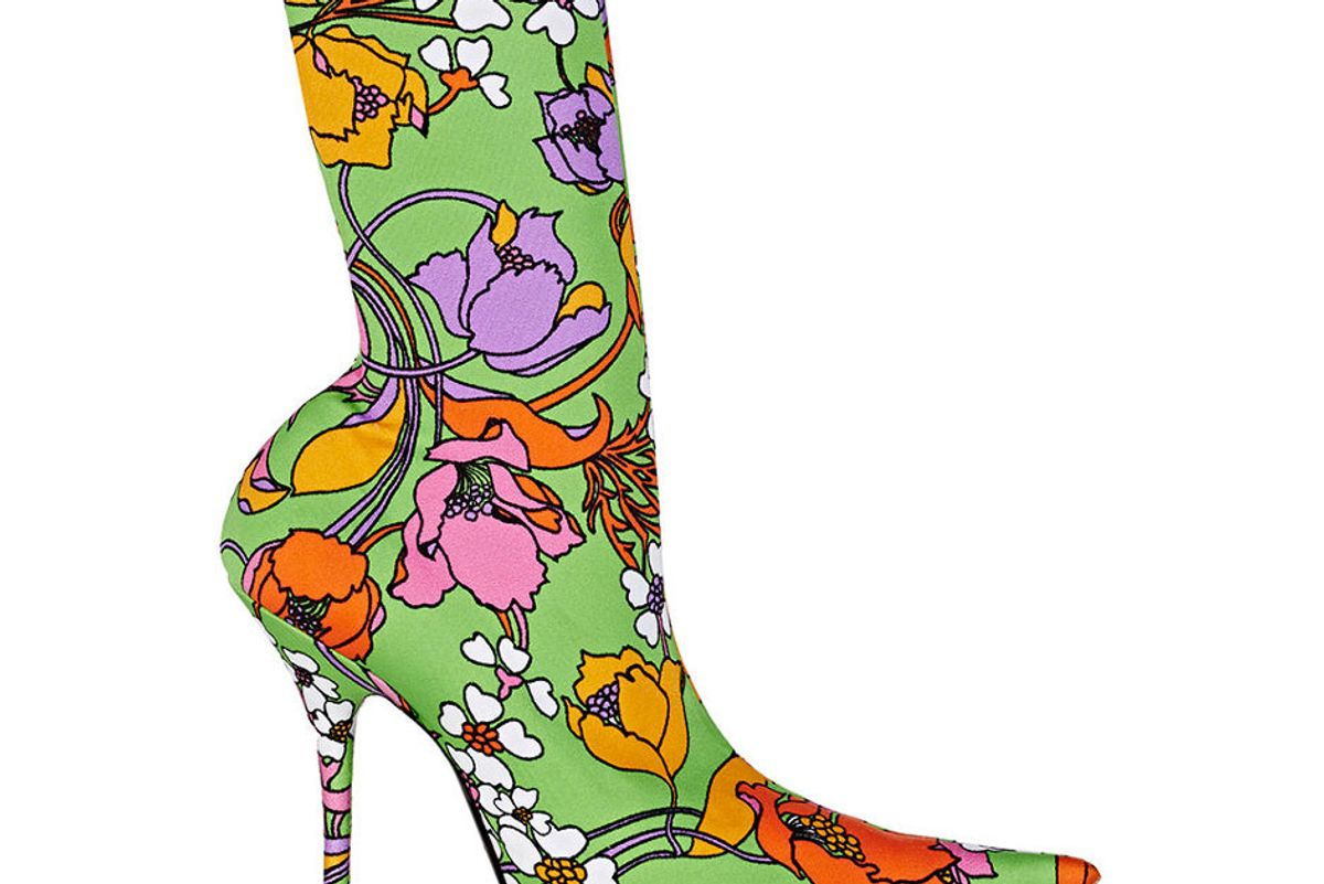 Floral Neoprene Ankle Booties