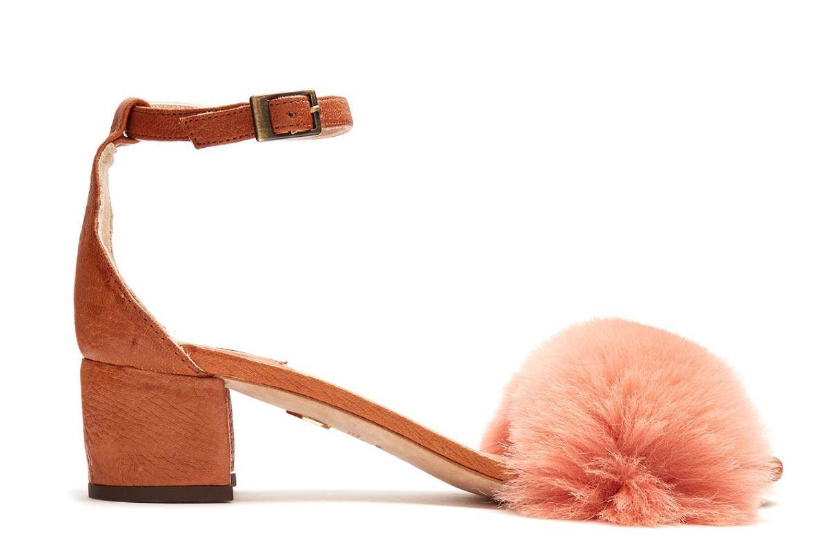 Tufted Dhara Fur-Trimmed Sandals