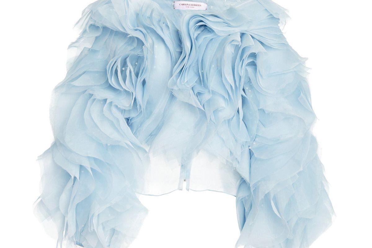 carolina herrera pearl embellished ruffled silk blouse