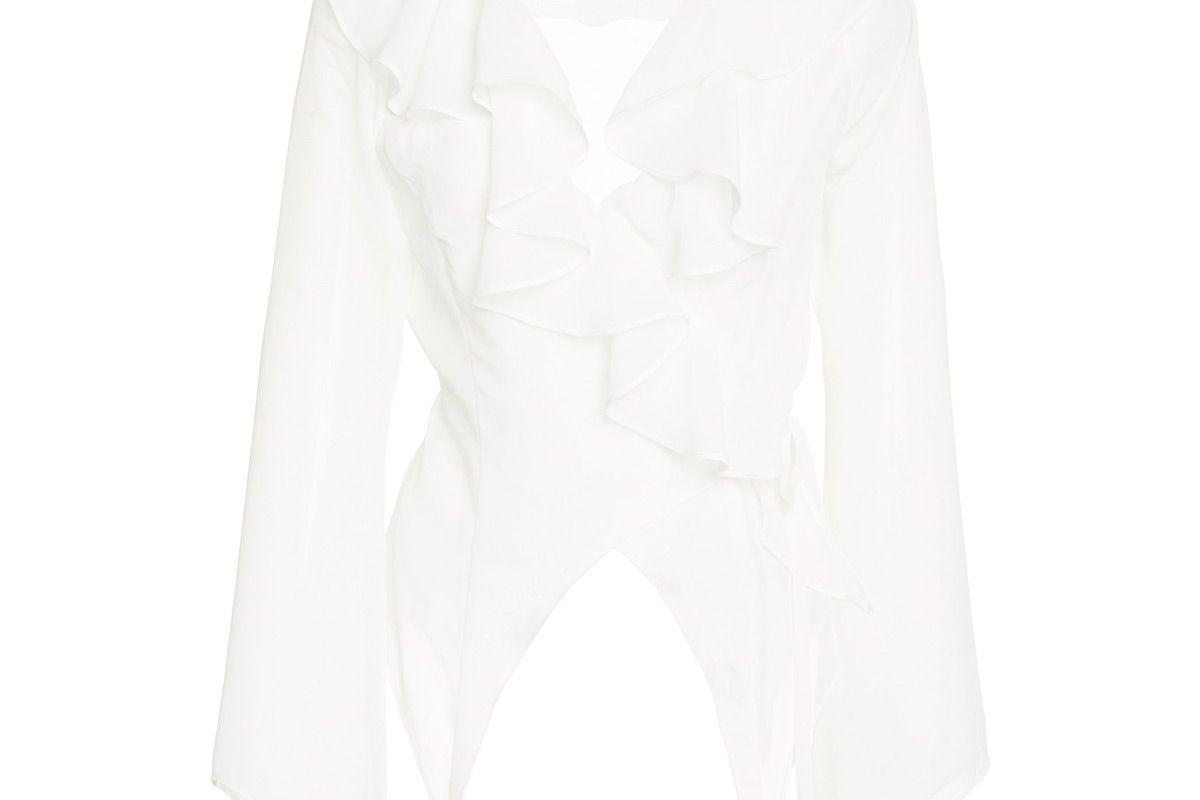 sandy liang jones ruffle blouse