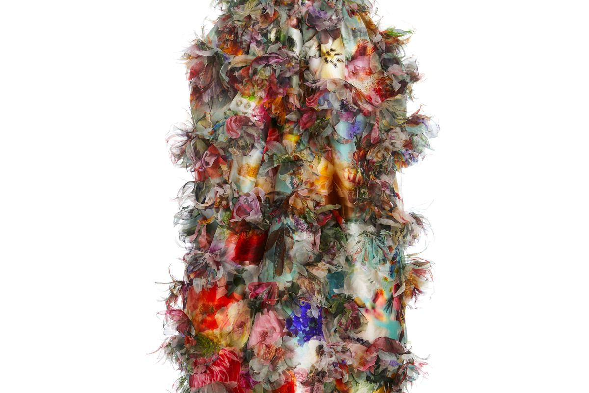 prabal gurung ruffled floral strapless midi dress