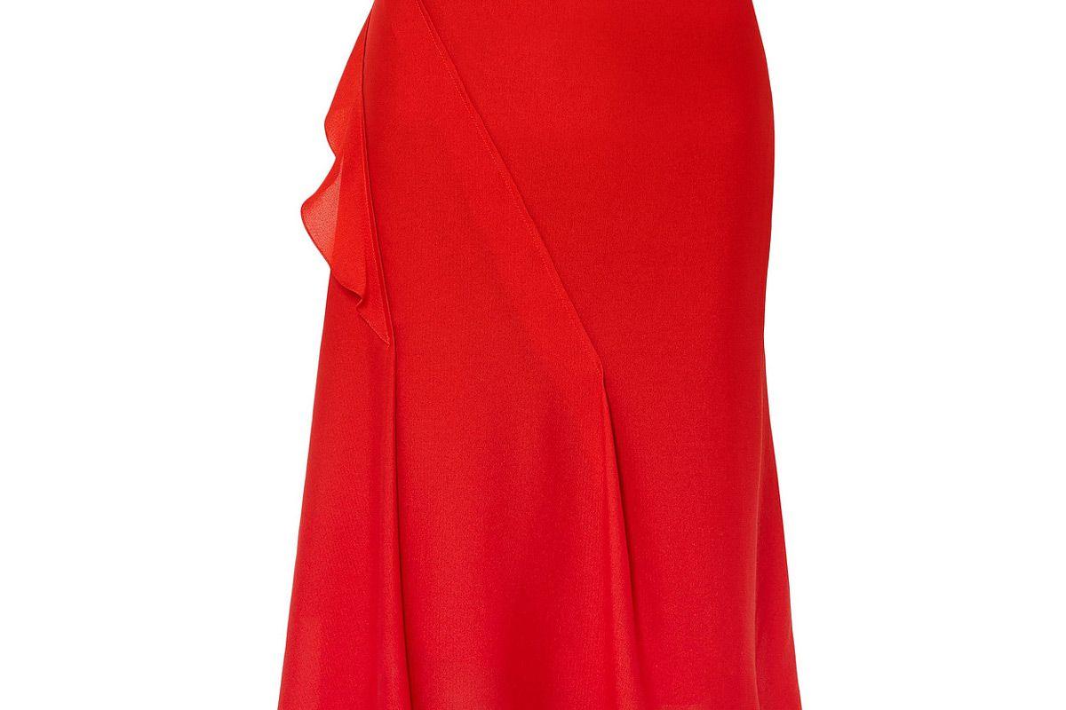victoria beckham ruffle trimmed pintucked silk skirt