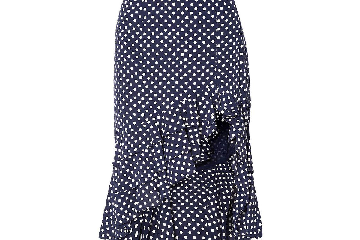 michael kors collection asymmetric ruffled polka dot silk crepe skirt