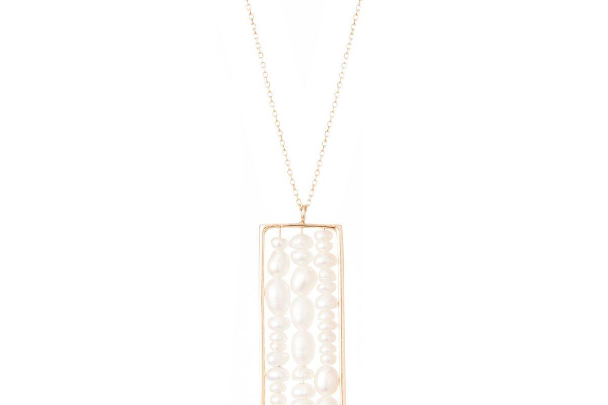 wwake long metaphor pearl pendant necklace