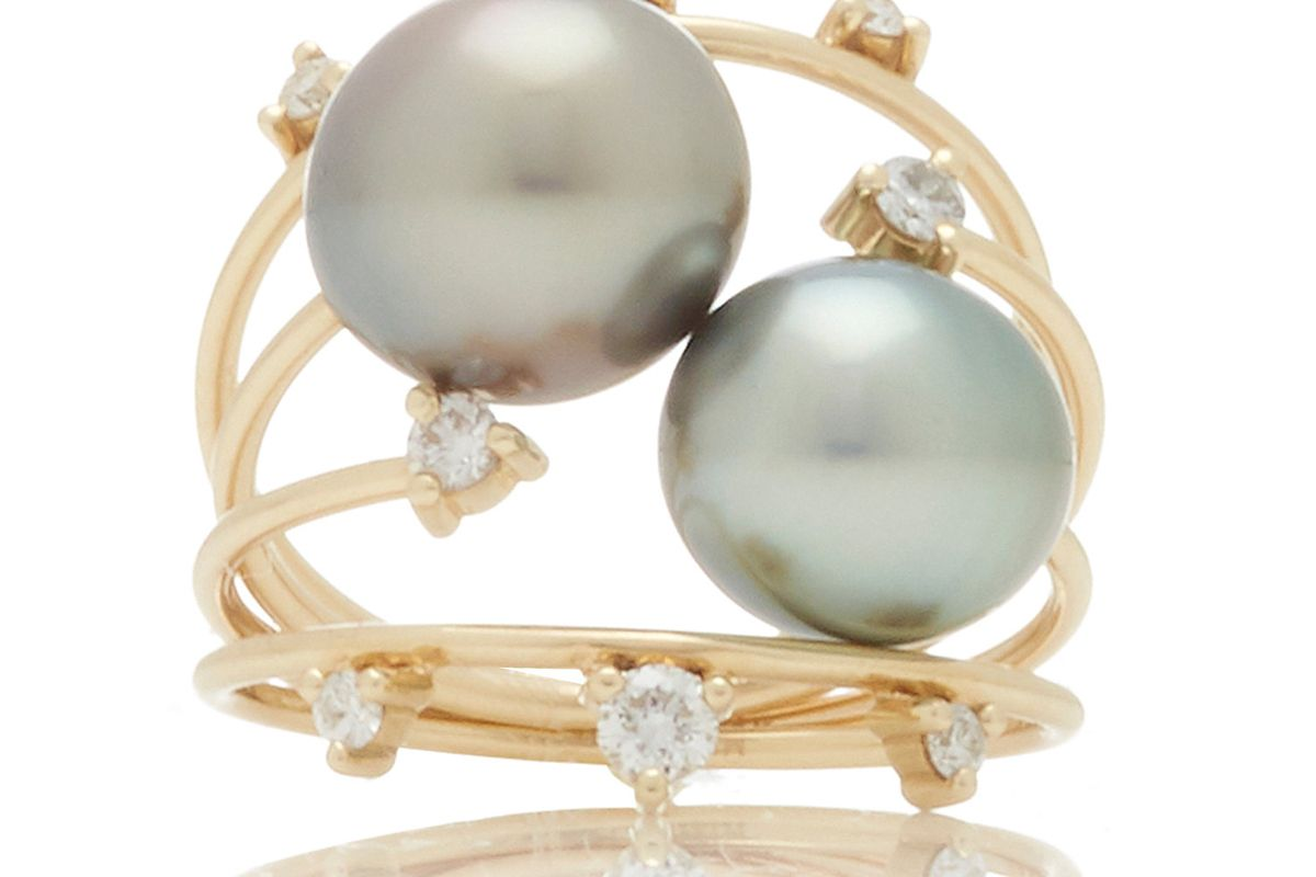 mizuki pearl and diamond ring stack