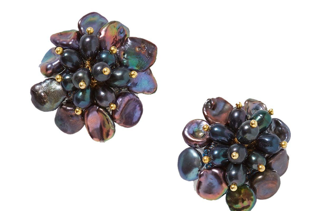 bibi marini flower pearl earrings