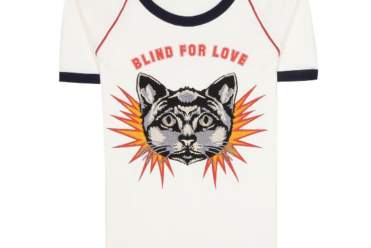 Blind For Love Cat Embroidered T-Shirt