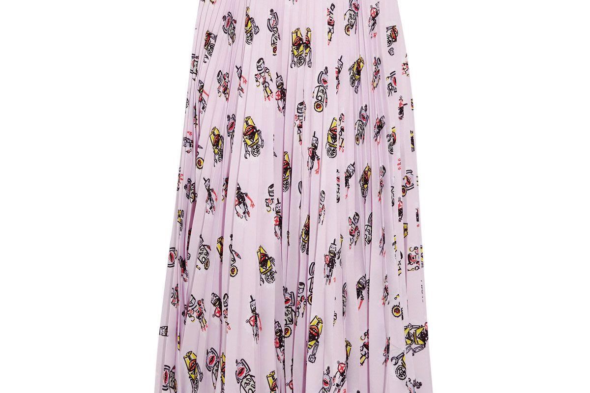 Printed Plissé-Crepe de Chine Midi Skirt
