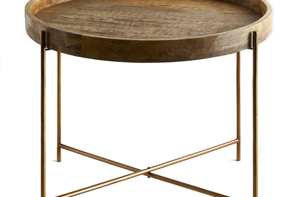 zara home folding table with a tray