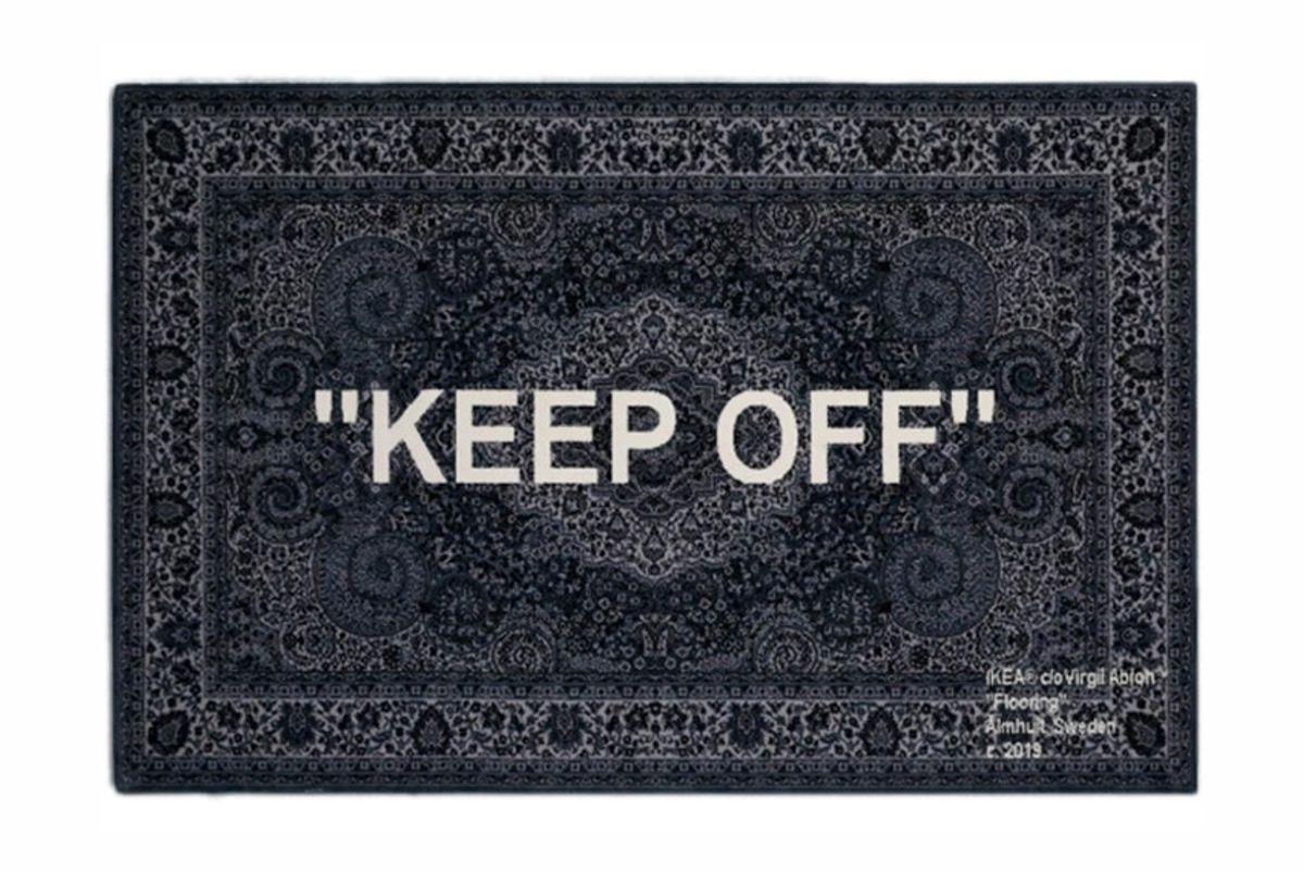 virgil abloh x ikea keep off rug 200x300 cm grey white