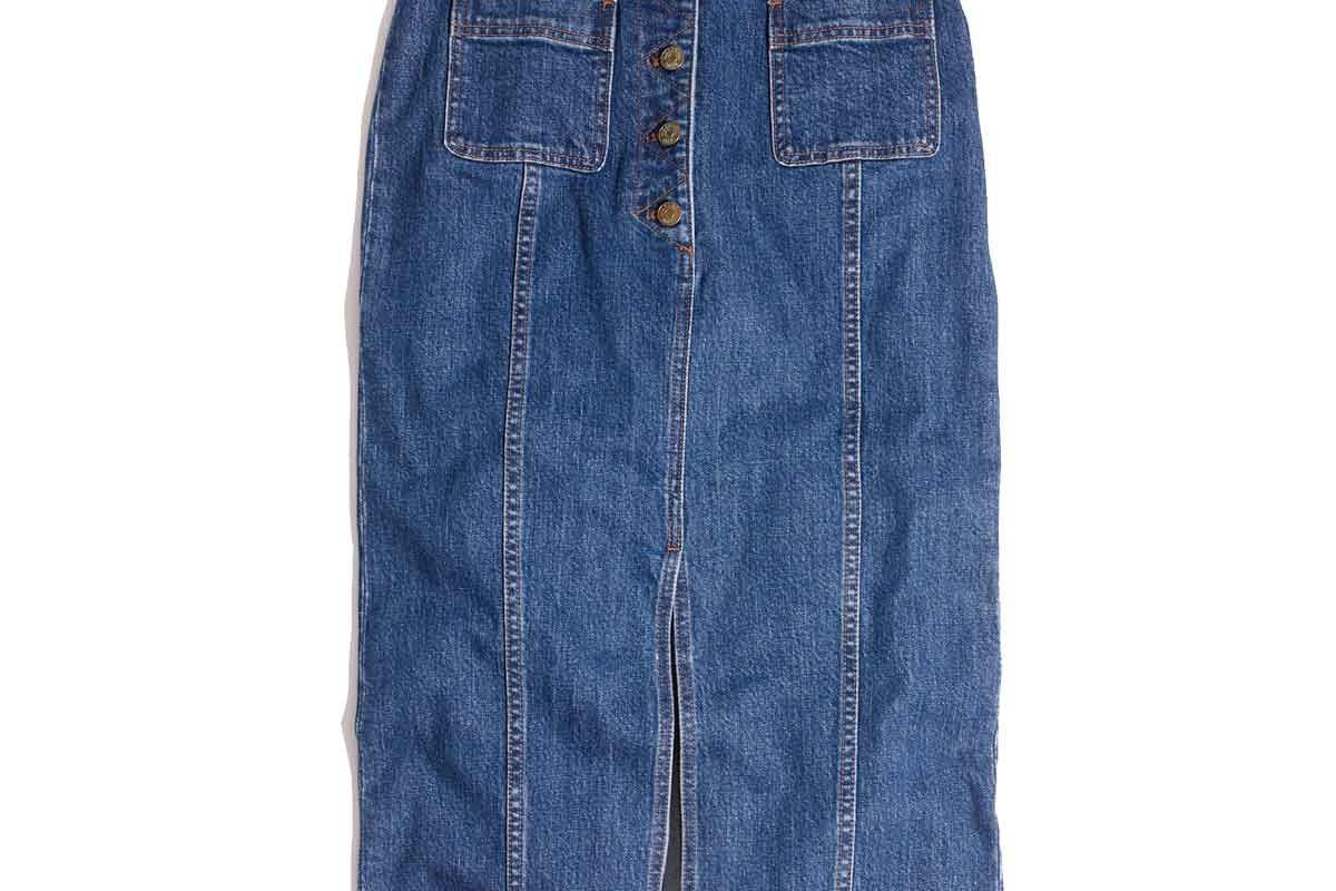 High Slit Jean Skirt