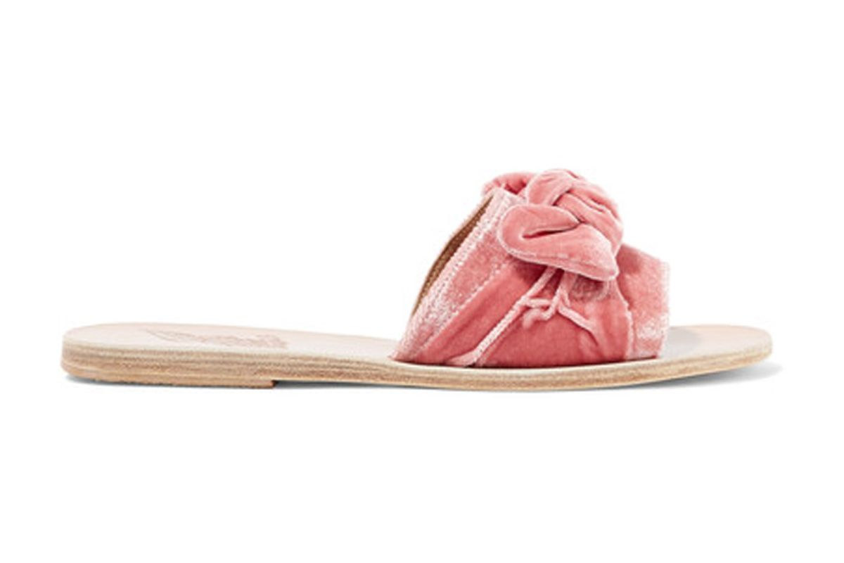 Taygete Bow-Embellished Velvet Sandals