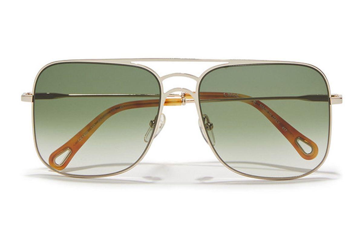 chloe ricky square frame gold tone sunglasses