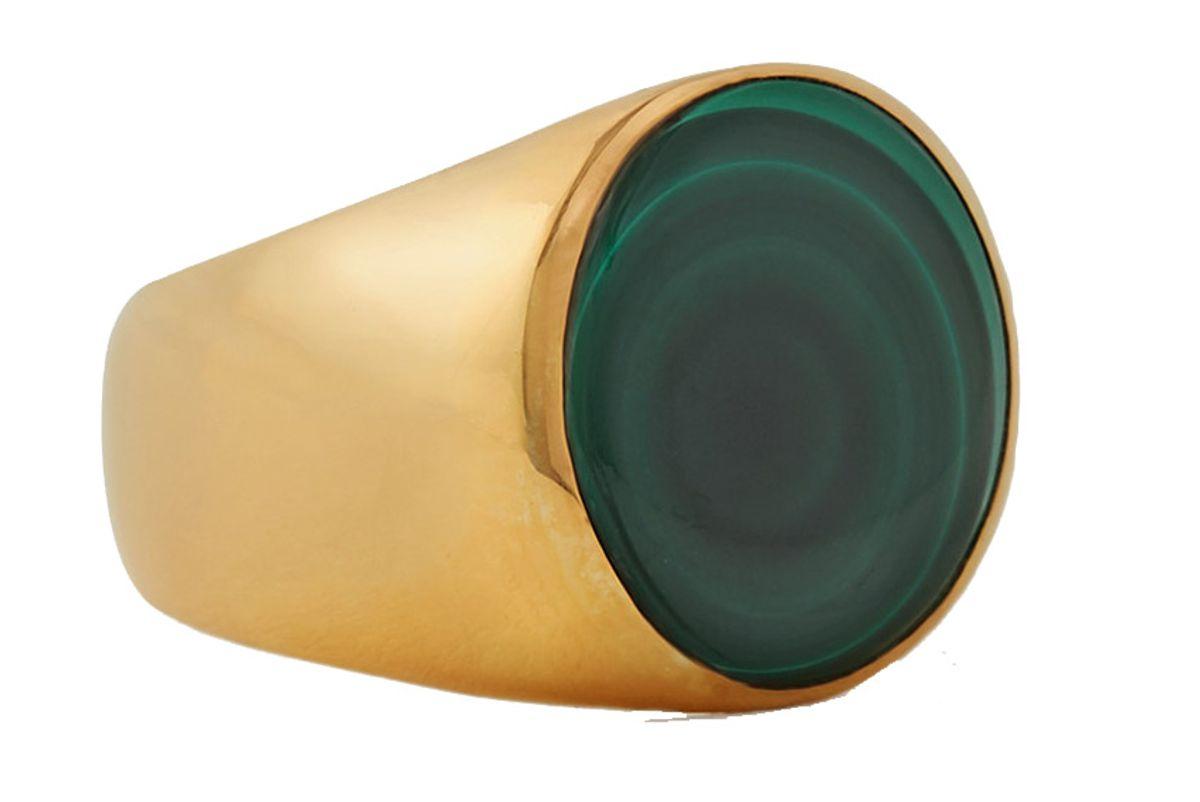 rasa x anna beck gold large gold plated malachite ring