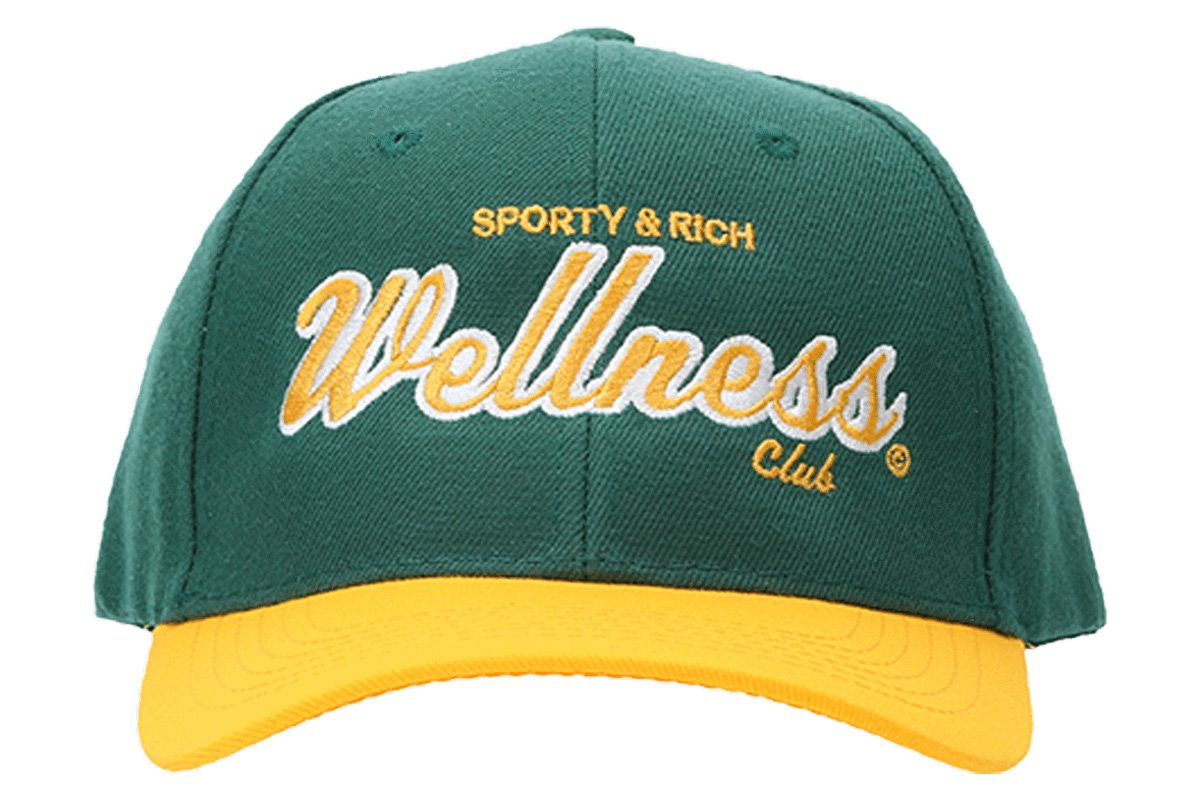 sporty and rich green and yellow sports logo cap