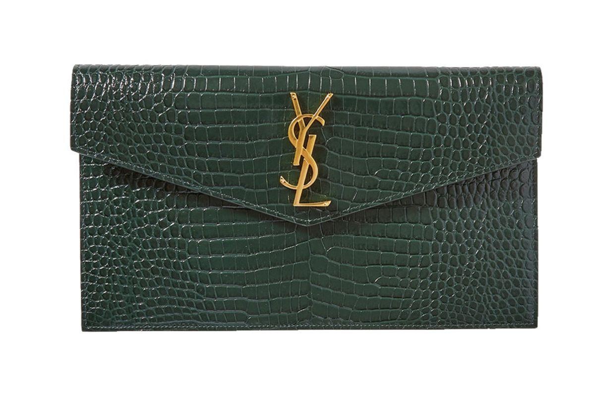 saint laurent uptown croc effect leather pouch