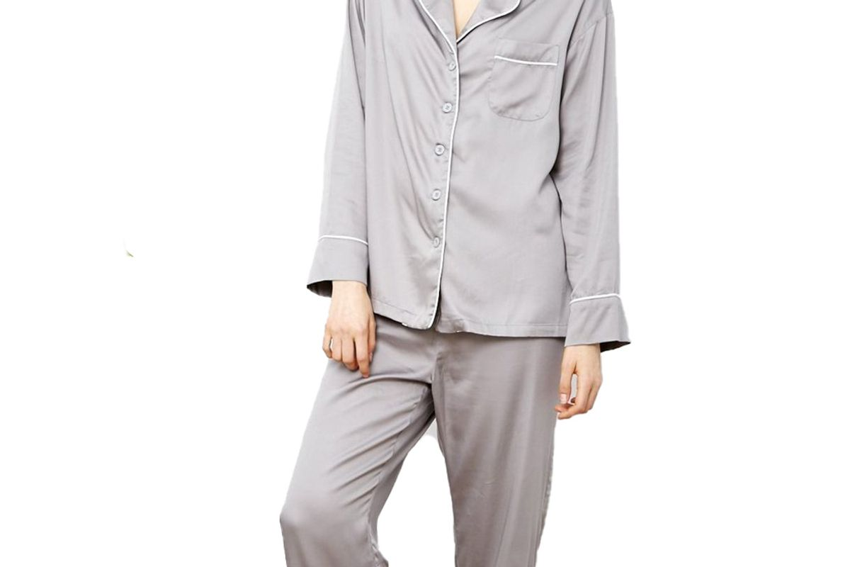 ettitude bamboo charcoal long sleeve pj shirt