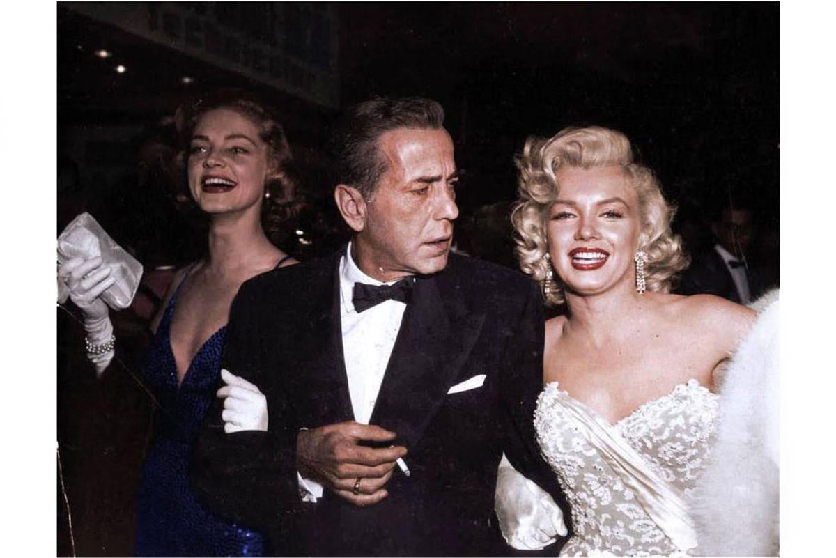 Marilyn Monroe, Humphrey Bogart and Lauren Bacall, Colorized
