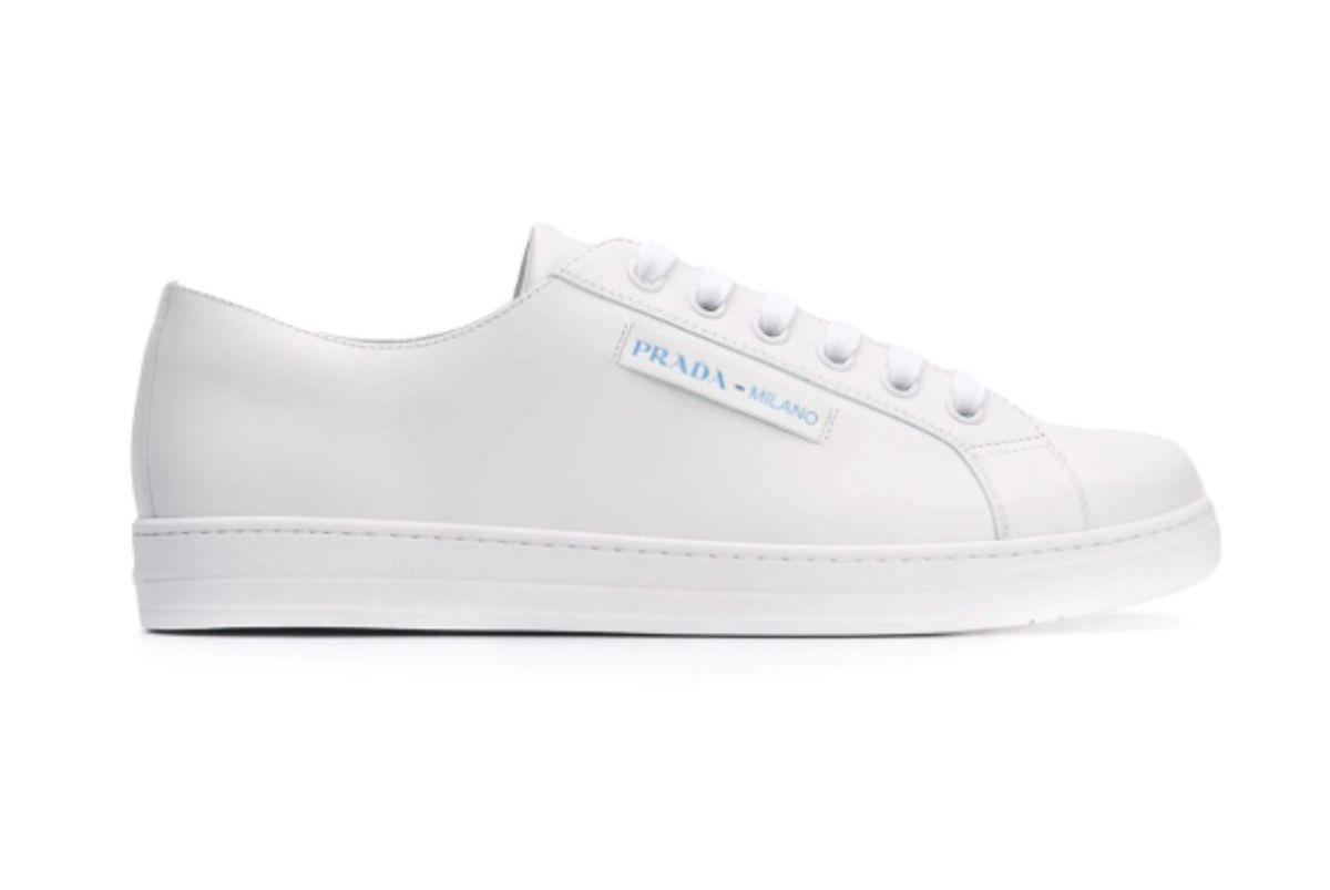 prada low top leather sneakers