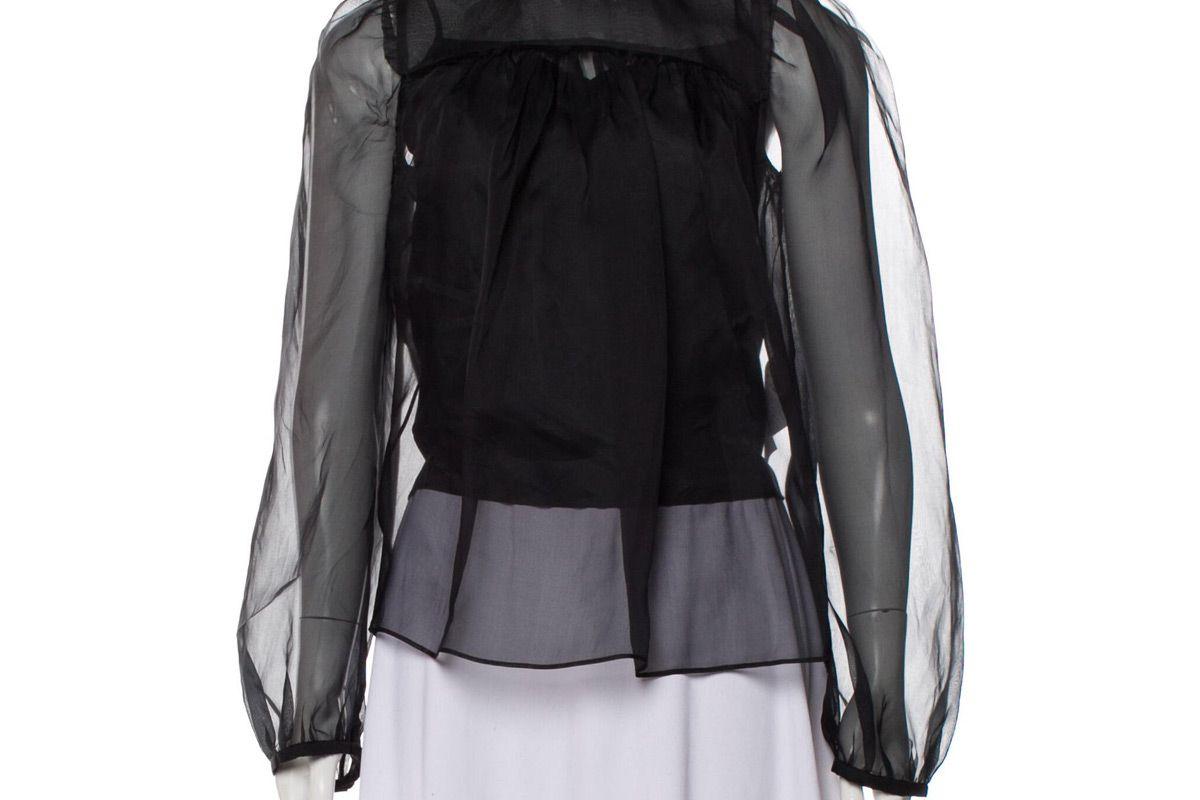 rochas silk mock neck blouse