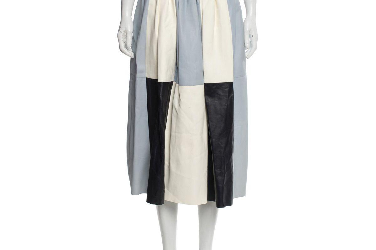 hermes leather midi skirt