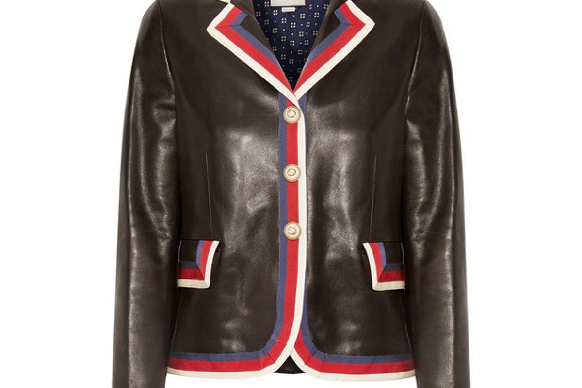 Grosgrain-trimmed Appliquéd Leather Blazer