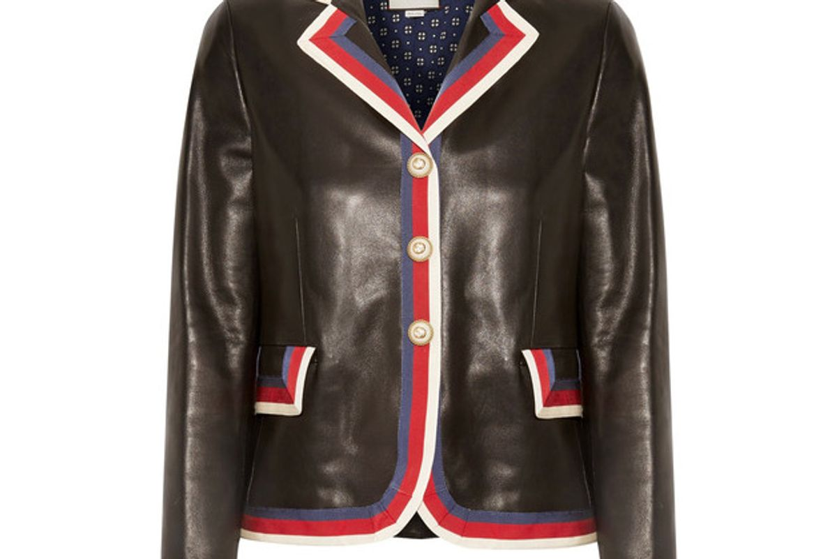 Grosgrain-trimmed Appliquéd Leather Blazer