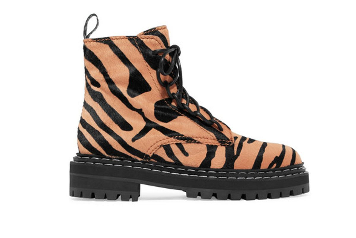 proenza schouler tiger print calf hair ankle boots