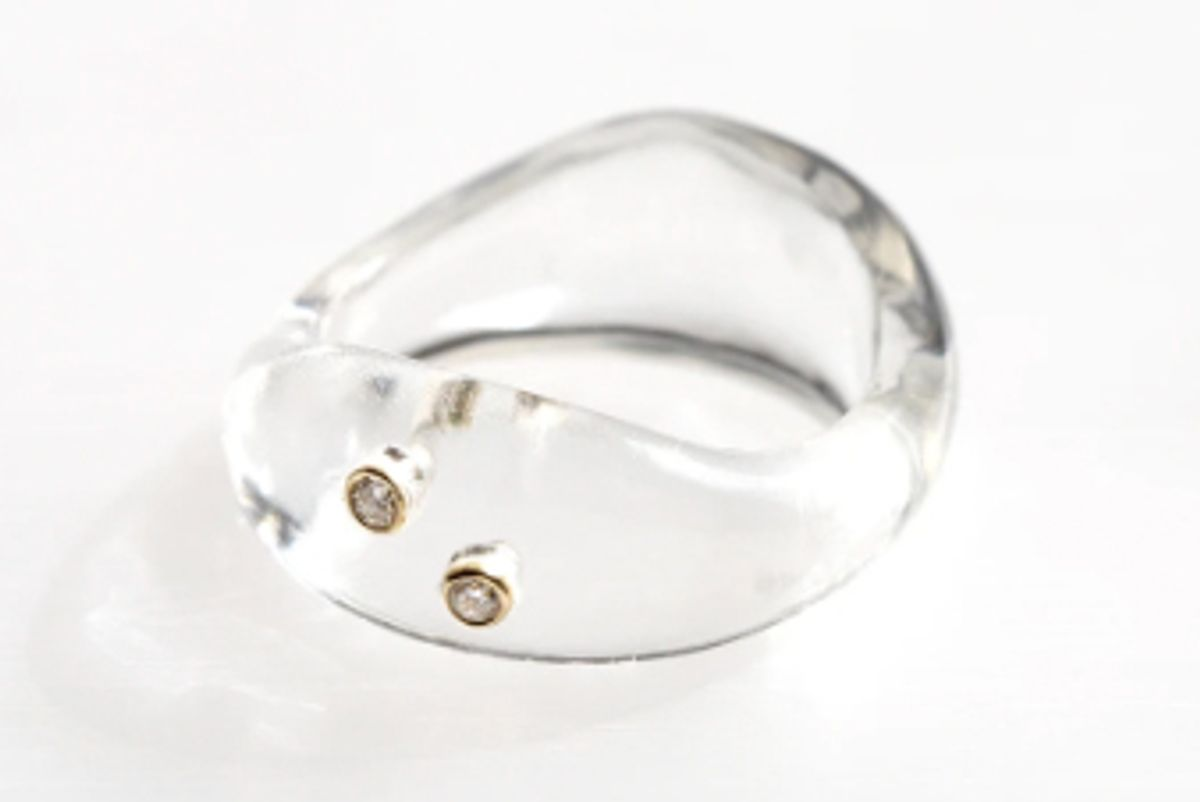 grace lee resin wave ring with 2 diamonds