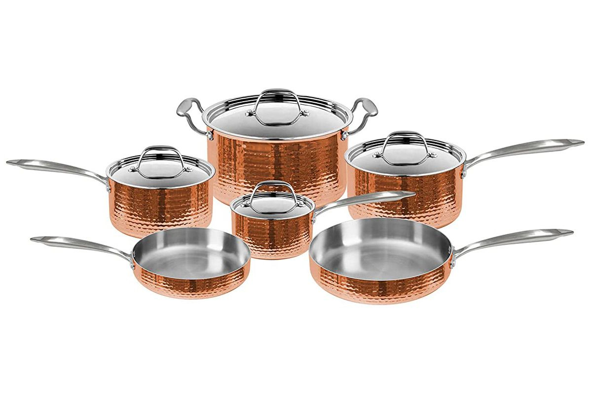 fleischer and wolf seville hammered copper 10 piece cookware set