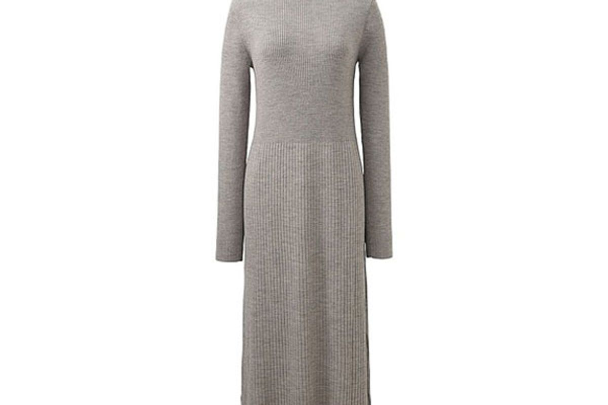 Women Knit Ribbed Turtleneck Dress
