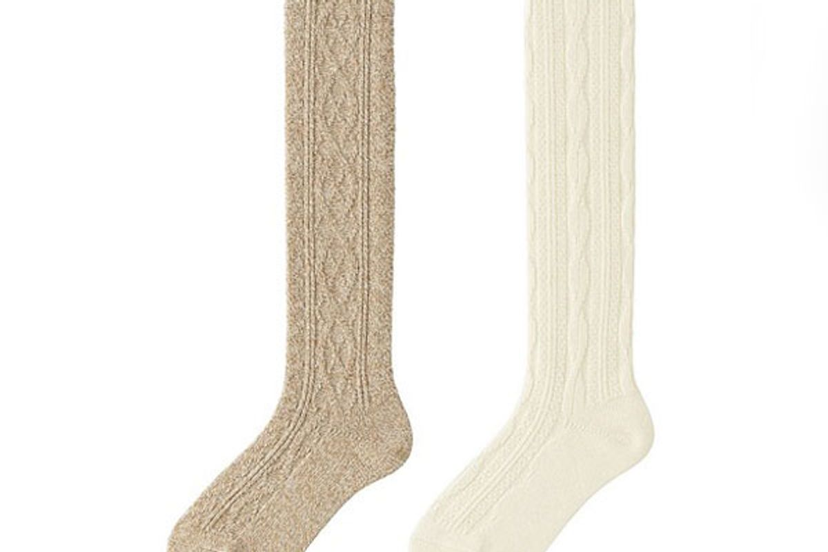 Women Heattech Knee High Socks 2P (Cable)